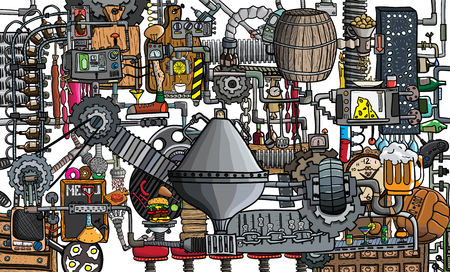 Bar, pub large illustration with beer, food and bar accessories Zdjęcie Seryjne - 114280253