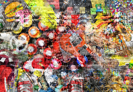 Collage in grunge style on a brick wall 版權商用圖片