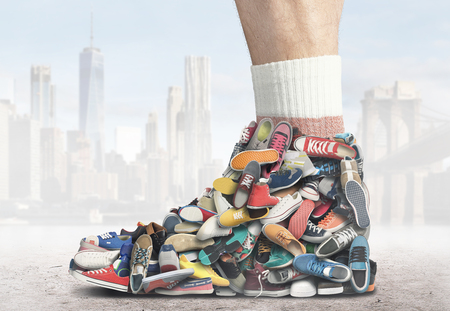 Great sneaker made of different sneakers and shoes Stock Photo