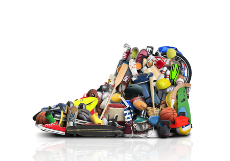 Great sneaker made of different sneakers and sports accessories Stock Photo