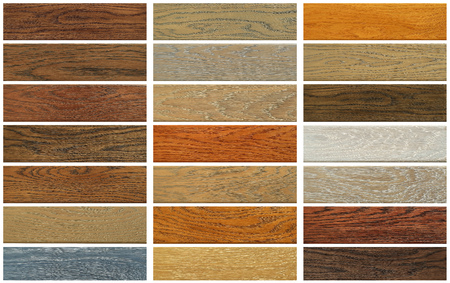 Collection of oak boards on white background Banco de Imagens
