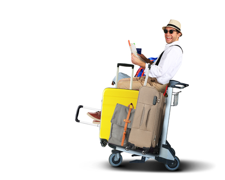 Luggage tourists with big suitcases on a cart Stock Photo