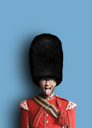 Young man in the costume of the Royal guards of Britain