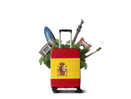 Large suitcase with Spanish flag and attractions