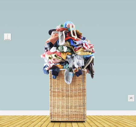 Beige straw basket Stock Photo