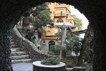 View through the stone arch to the Villa in Portofino