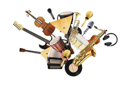 A variety of musical instruments in beautiful flight
