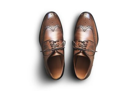 Brown leather mens shoes in classic style