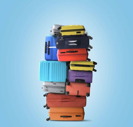 Huge pile of suitcases, a tourist concept
