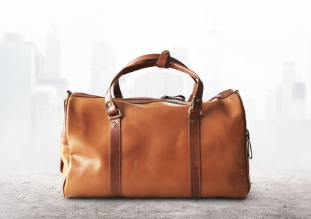 Large classic brown leather travel bag