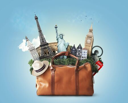 Travel concept, large classic brown leather travel bag with landmarks Stock fotó