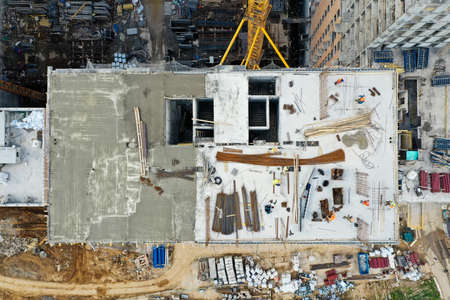 Construction of a high monolithic house, view from the top