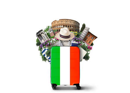 Italy, landmarks Italy and retro suitcase with hat Standard-Bild