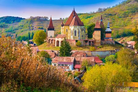 biertan: Beautiful medieval architecture of Biertan fortified church in Sibiu, Romania