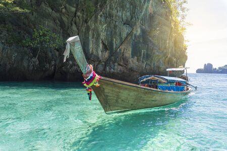 Landscape with longtail boat on Loh Samah Bay, Phi Phi island, Thailand