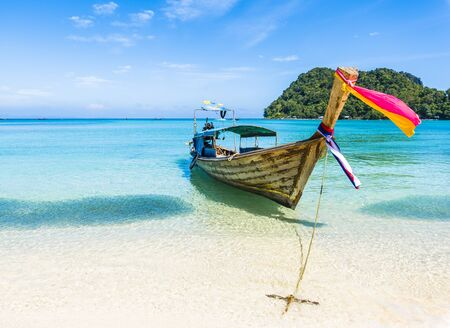 Traditional longtail boats parking, Andaman Sea, Phi Phi island, Krabi Province, Thailand