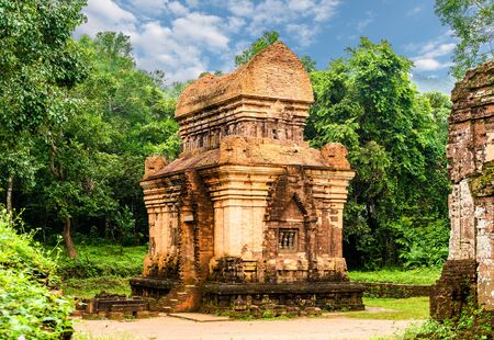 My Son Sanctuary complex, ruins of Old hindu temple in Vietnam