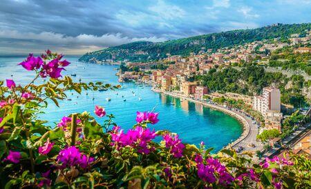 French Riviera coast with medieval town Villefranche sur Mer, Nice region, France Foto de archivo