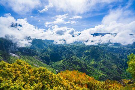 Landscape with Piton des Neiges mountain, La Reunion Island