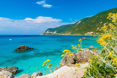 Landscape with turquoise water in Agios Nikitas, Lefkada Greece