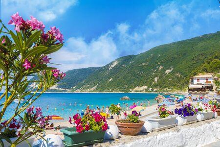 Agios Nikitas beach and resort in Lefkada Greece Archivio Fotografico