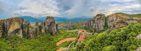 Landscape with monasteries and rock formations in Meteora, Greece Stock Photo