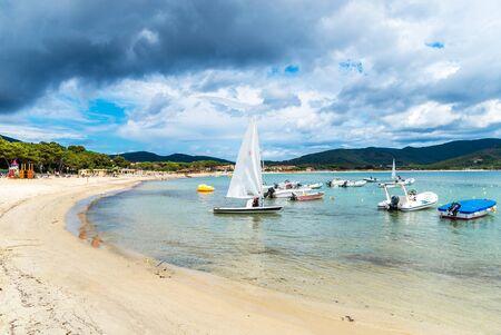 Marina di campo beach in Elba Island, Tuscany, Italy.
