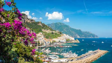 Landscape with Amalfi town at famous amalfi coast, Italy