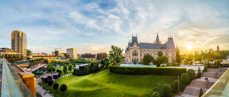 Panoramic view of Cultural Palace and central square in Iasi city, Romania Editorial