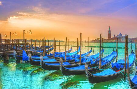 San Giorgio Maggiore church and Gondolas in Venice, Italy.