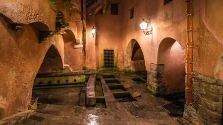 The famous public ancient roman baths on Cefalu, Sicily island, Italy