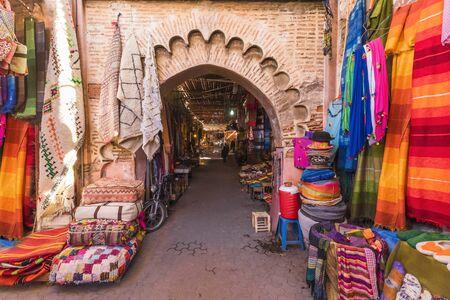 Souvenirs on the Jamaa el Fna market in old Medina, Marrakesh, Morocco Stock Photo