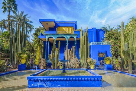 Le Jardin Majorelle, amazing tropical garden in Marrakech, Morocco.