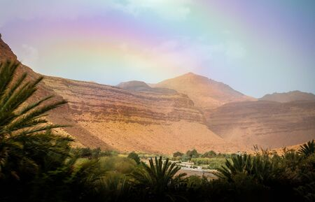 Landscape with Atlas Mountain and valley in Morocco Stock Photo