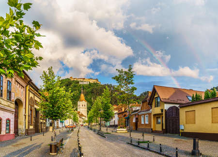 Landscape with Rasnov town and medieval fortress after rain, Brasov, Transylvania, Romania
