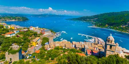 Panoramic view over  Portovenere harbor village, Cinque Terre National Park, Liguria, Italy