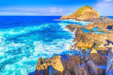 Coastline at Porto Moniz, Madeira island, Portugal Stockfoto - 150296389