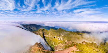 Beautiful panorama at Pico Ruivo, Madeira island, Portugal