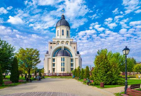 Christian orthodox church – cathedral in Bacau, Moldavia landmark, Romania Zdjęcie Seryjne