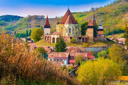 Beautiful medieval architecture of Biertan fortified church in Sibiu, Romania