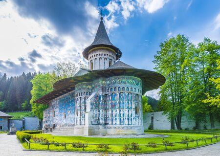 Voronet orthodox painted church monastery Moldavia, Bucovina, Romania Archivio Fotografico