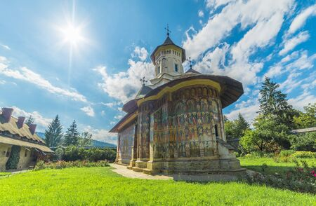 Vatra MoldoviÈ›ei, Romania - May 2017:  Moldovita orthodox painted church monastery,  Moldavia, Bucovina, Romania