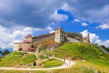 Medieval citadel in Rasnov city, Brasov, Transylvania, Romania 版權商用圖片