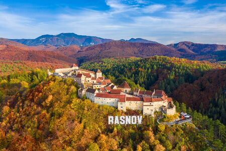 Landscape with Medieval fortress  Rasnov, Brasov , Transylvania, Romania