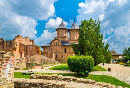 Ruins of medieval old fortress  (castle) and royal court in Targoviste landmark, Romania