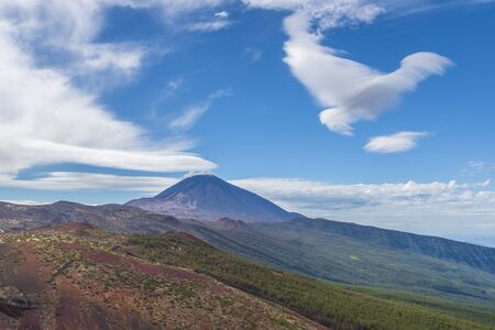 Landscape with volcanic mountain Teide in the Teide National Park, Canary islands, Spain