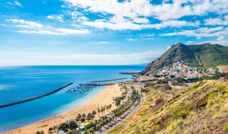 Landscape with Las Teresitas beach and San Andres village, Tenerife, Canary Islands, Spain 版權商用圖片