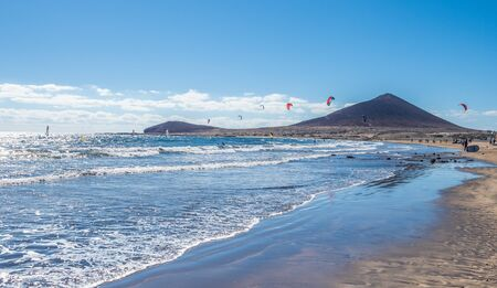 Landscape with El Medano beach, in background La Montana Roja, Tenerife island, Spain