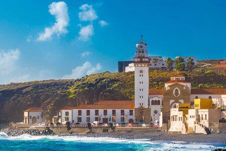 Basilica of Candelaria and pebble beach in Tenerife Canary Islands, Spain