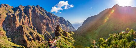 Panoramic aerial view over Masca village, the most visited tourist attraction of  Tenerife, Spain